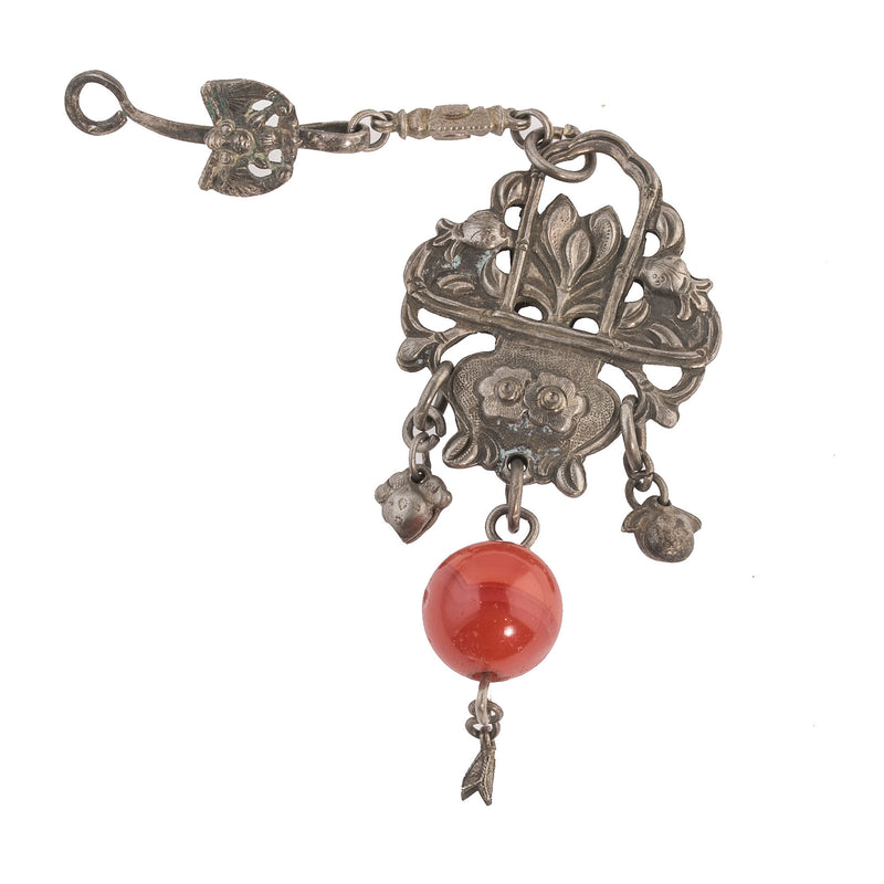 Antique Chinese Qing Dynasty coin silver hollow basket ornament carnelian and bat hook. pdvs617