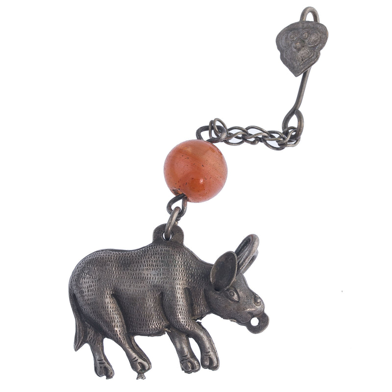 Antique Chinese Qing dynasty hollow silver ox amulet with carnelian bead and bat chatelaine hook. pdvs626