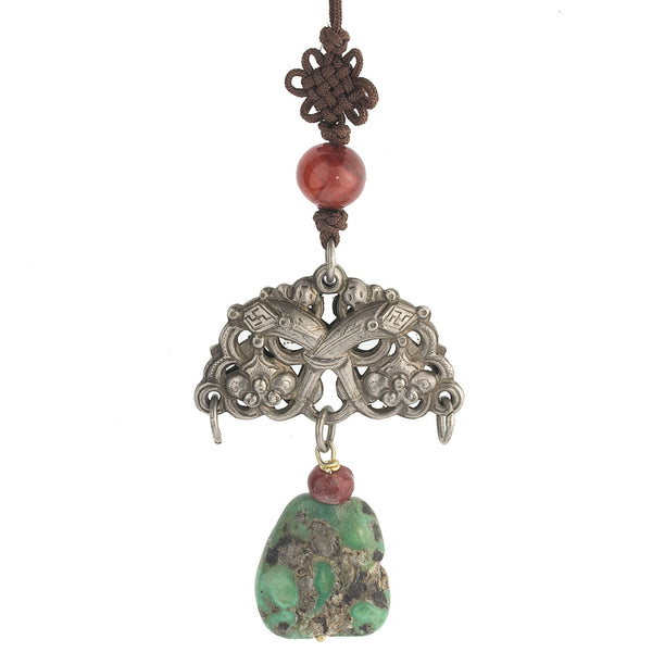 Antique Chinese Qing Dynasty coin silver bat amulet and with coral and turquoise beads and cord with pang knot. Pdvs626