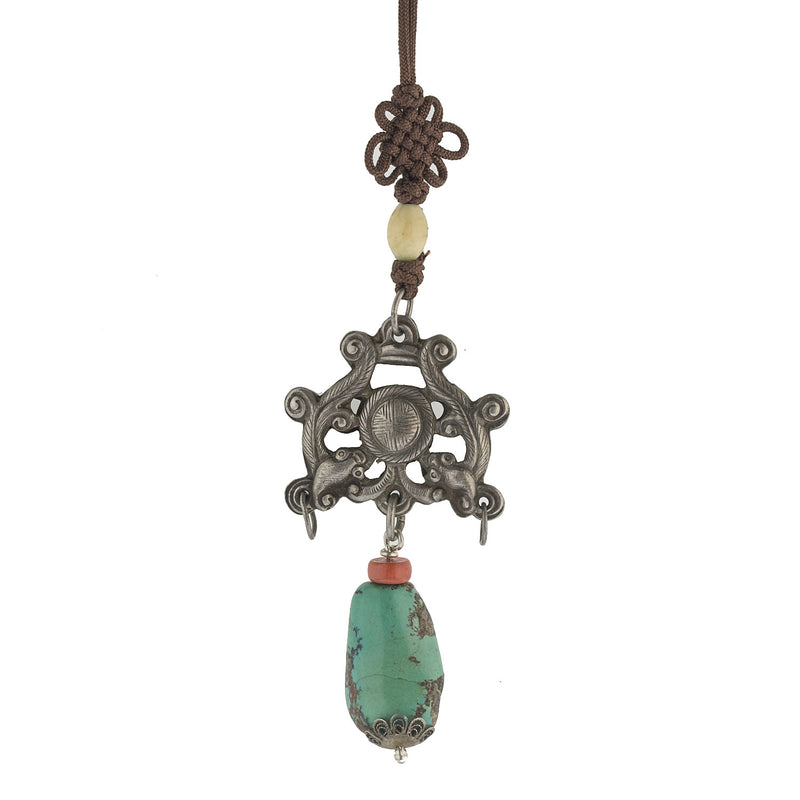 Antique Chinese Qing dynasty hollow silver 3-legged toad amulet with longevity symbol and turquoise bead. pdvs634