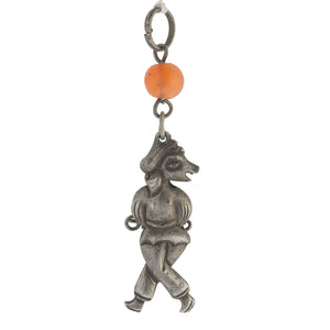 Antique Chinese Qing dynasty hollow coin silver figural amulet with carnelian bead. pdvs637