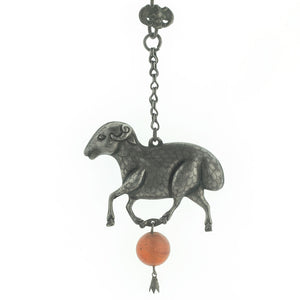Antique Chinese Qing dynasty hollow coin silver sheep amulet with carnelian bead and bat hook. pdvs638