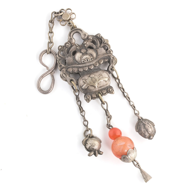 Antique Chinese Qing Dynasty coin silver flower basket ornament with chatelaine hook. pdvs656