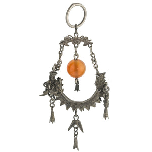 Antique Qing dynasty coin-silver Dragonfish pendant with carnelian bead, silver dangles, chain and ring. pdvs662