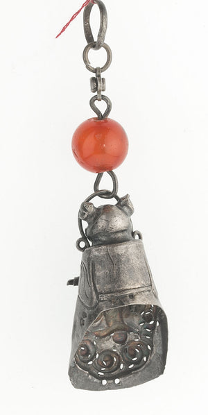 Antique Chinese Qing dynasty hollow  silver male figurine with carnelian bead. pdvs663