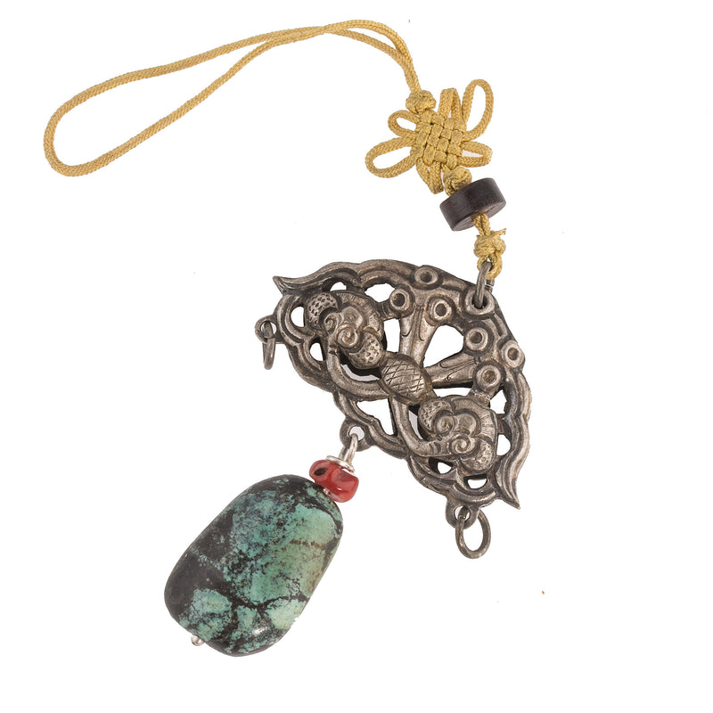 Antique Chinese Qing Dynasty hollow coin silver amulet repousse toads and bats with coral turquoise beads. Pdvs665