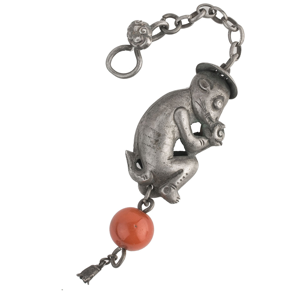 Antique Chinese Qing dynasty hollow coin silver repoussé amulet of crouching monkey eating fish.  pdvs670