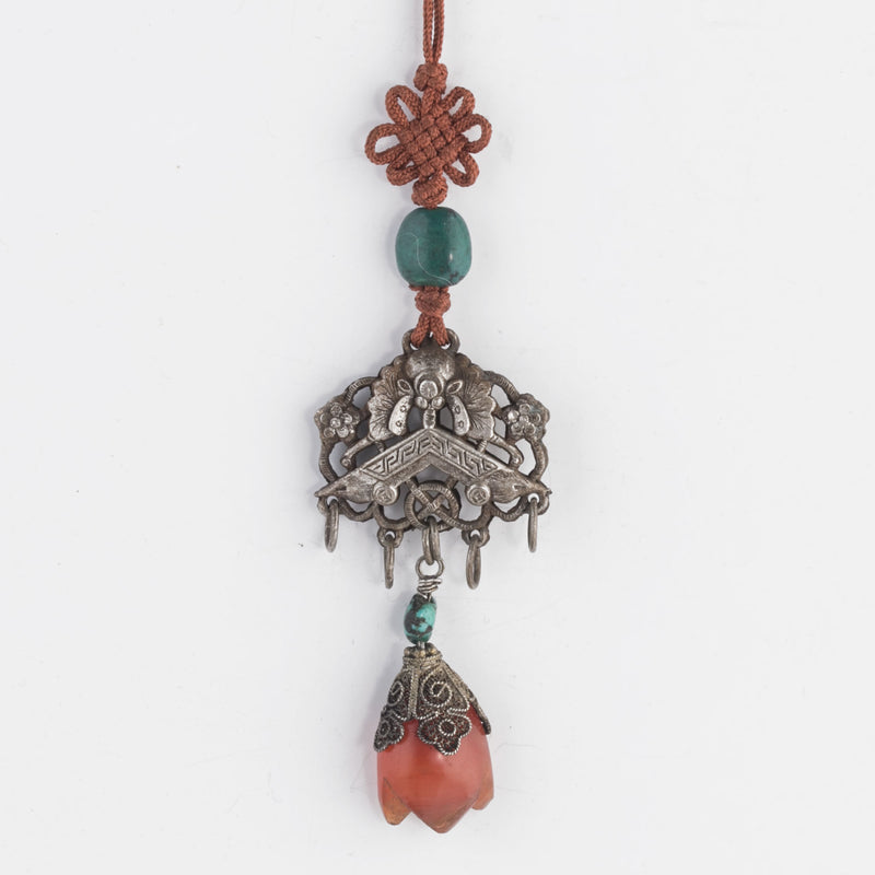 Antique Chinese Qing Dynasty coin silver hollow bat ornament with turquoise and carnelian. pdvs907