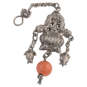 Antique Chinese Qing Dynasty coin silver hollow basket ornament with carnelian and bat hook. pdvs909