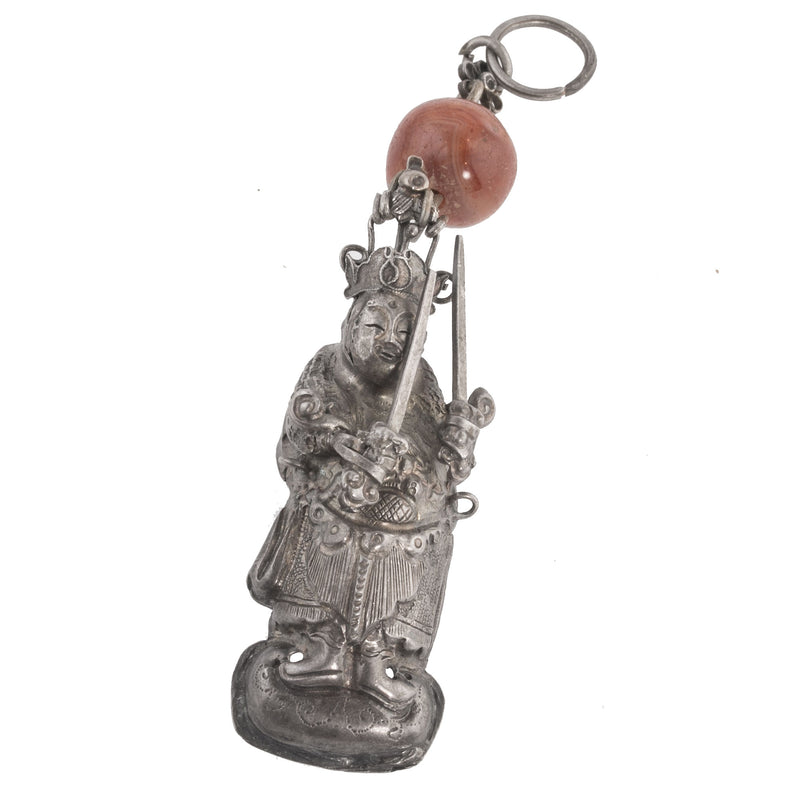 Antique Qing dynasty silver hat amulet-intricate silver repoussé and wire work Chinese mythic figure wielding two swords. pdvs910