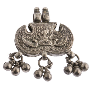 Antique coin silver Rajasthan, India, peacocks and deity, with sets of dangles.  pdvs990cs