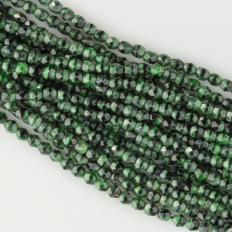 Vintage Czech faceted malachite glass 4mm beads, 30