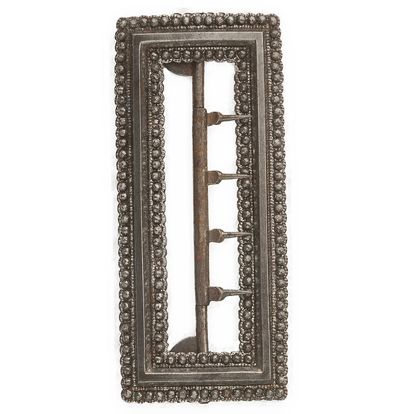 Edwardian 4 pronged cut steel buckle with border of faceted steel beads. bued103(e)