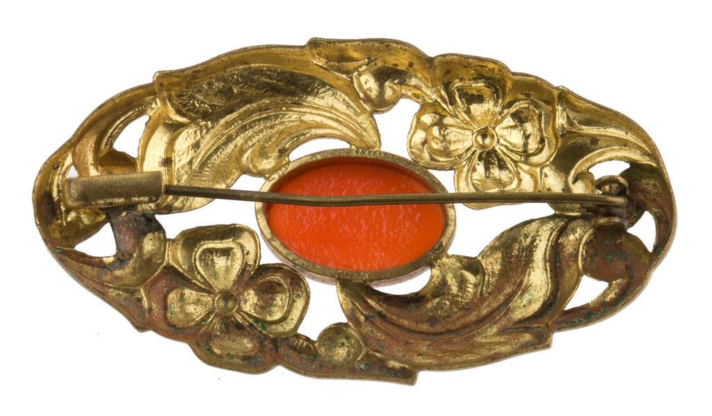 1940s Czech stamped brass and coral glass brooch. pnbg1009