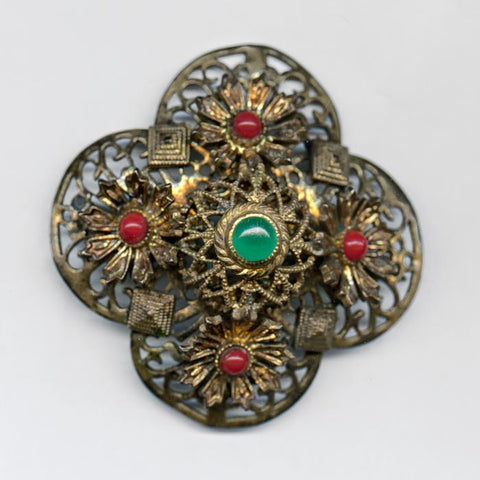 pnbg973(e)- Antique Bohemian brass brooch with glass stones