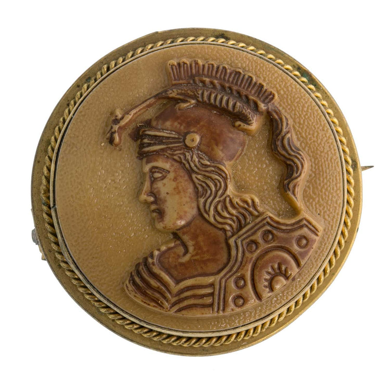 Vintage celluloid ancient warrior carved cameo brooch. PNBK79