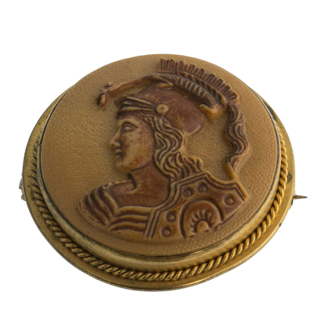 Vintage celluloid ancient warrior carved cameo brooch. PNBK79(e)