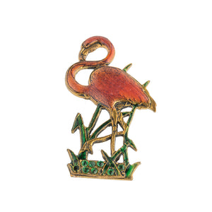 Vintage mid-century brass, enamel and rhinestone Pink Flamingo brooch. pncs854