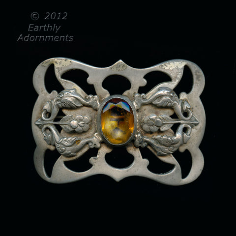 Pned480(e)-Edwardian silver plated sash pin with topaz glass stone