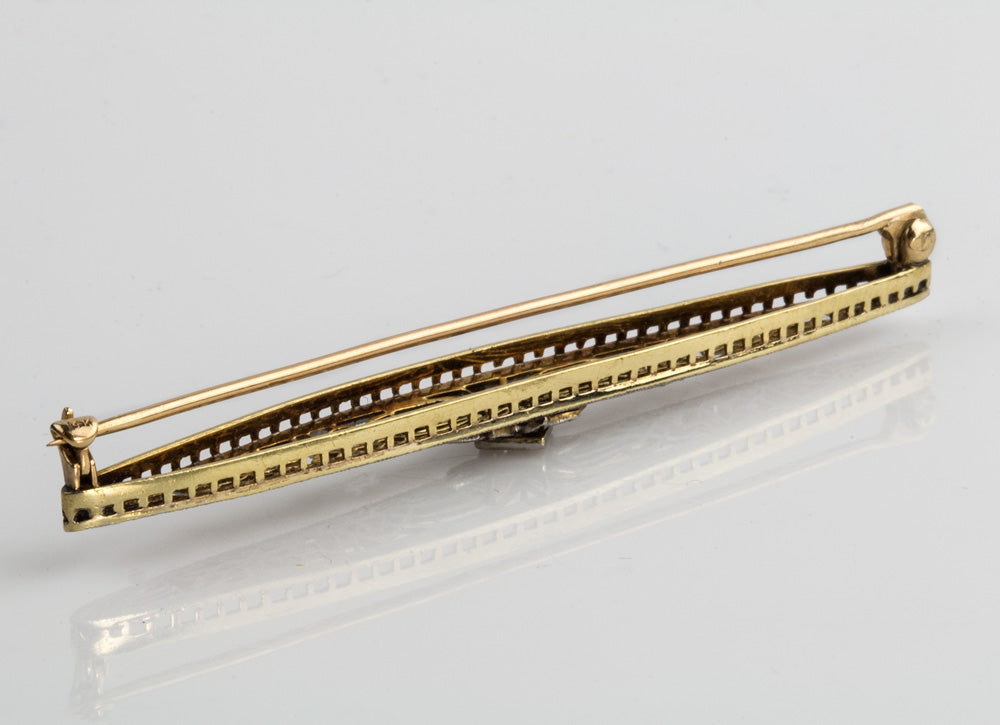 Art Deco 14k white and yellow gold bar pin with diamond. pnfn121(e)