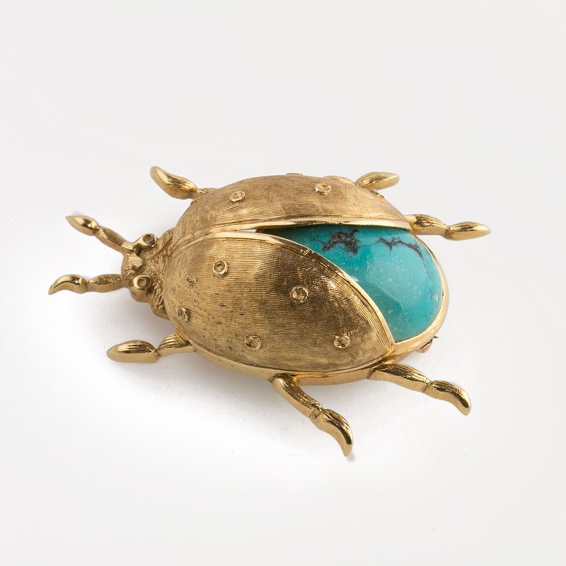 Estate 18k yellow gold and Persian Turquoise three dimensional beetle brooch. Italy. 1960s pnfn124sk