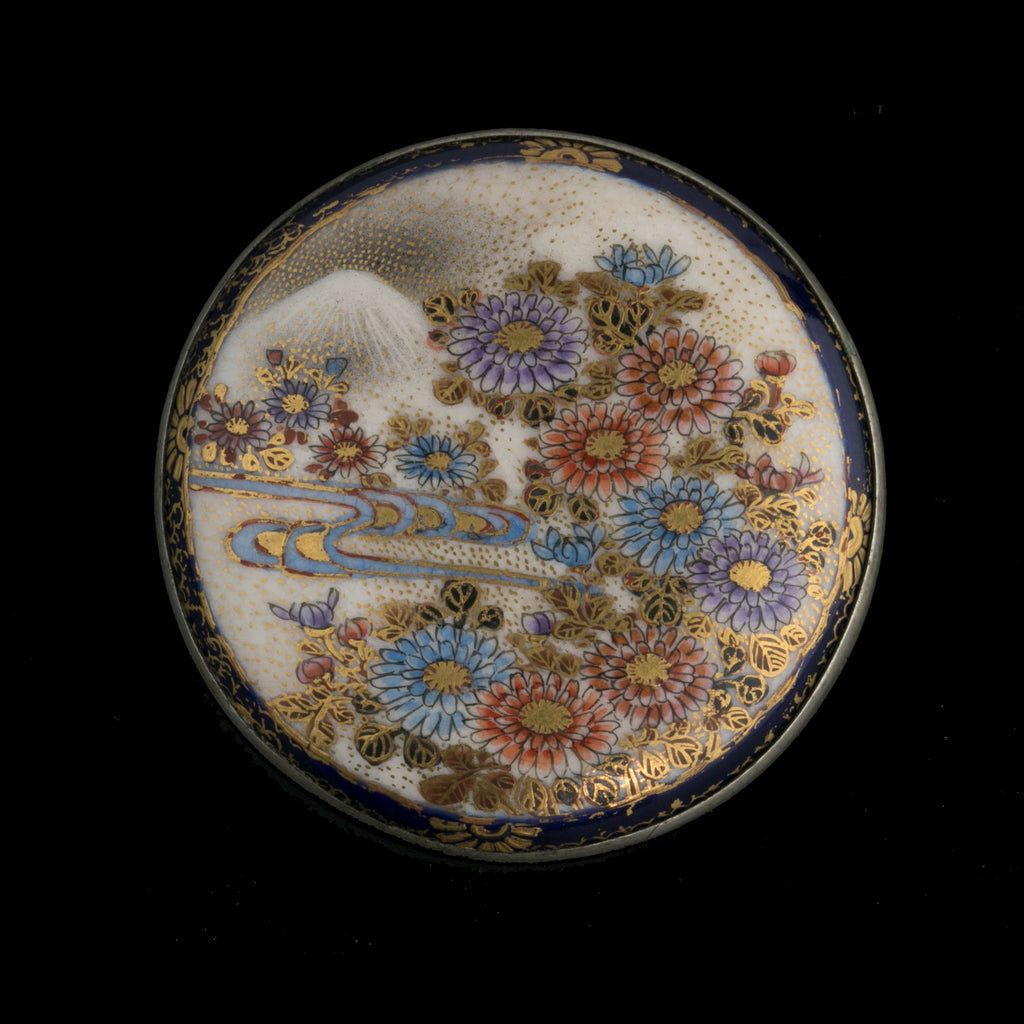 Antique Japanese Satsuma brooch with silver back. pnor660