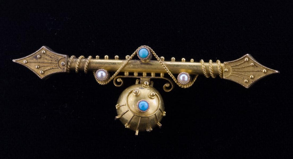 Etruscan revival Persian turquoise and gold Victorian era bar pin. pnvc1001e
