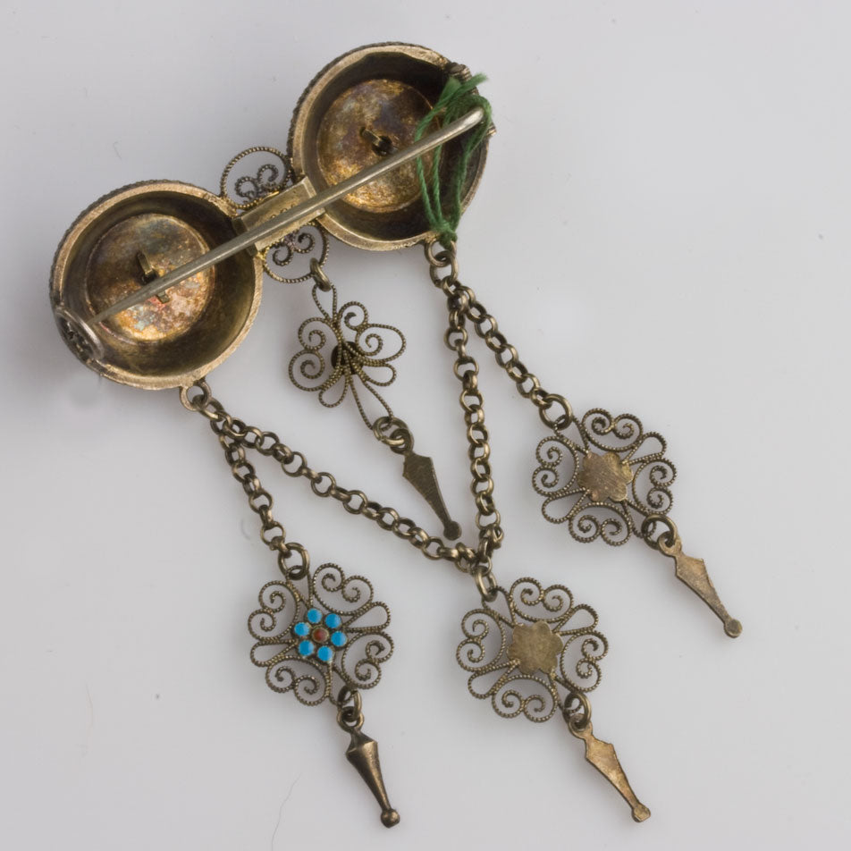 Antique French 19th century silver fine filigree and enamel brooch. pnvn1060