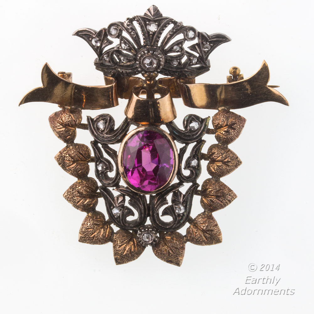 Antique Victorian pin/pendant 18k rose gold, rose cut diamonds and synthetic ruby corundum. pnvc1062