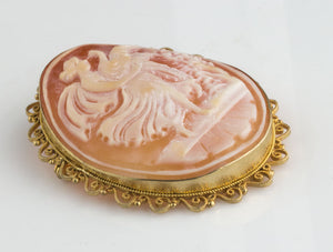 pnvc1071(e)- Leda and the swan shell cameo brooch or pendant.