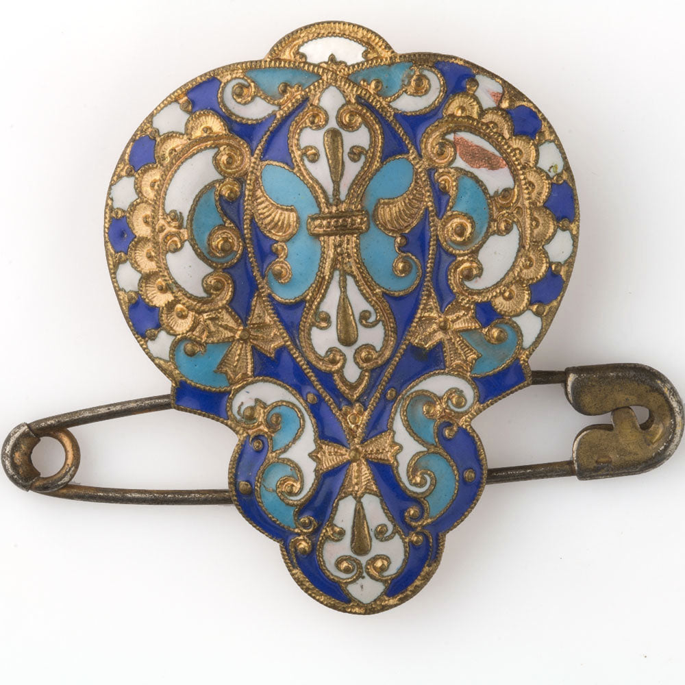 Antique enamel dress clip with attached safety pin. pnvc1072
