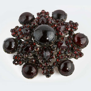 Victorian antique natural Bohemian rose cut garnet cluster gold over silver. pnvc1079(e)