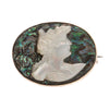 Victorian mother of pearl and abalone cameo pin in gold filled setting. 1.2 x 1 inches. pnvc1083
