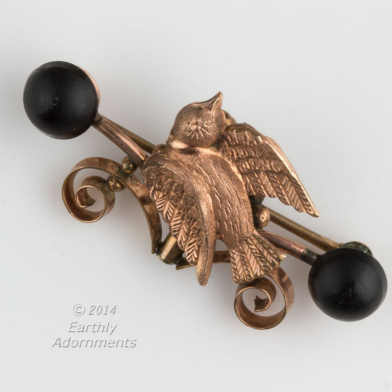 Victorian brass and pink gold overlay mourning pin with vulcanite. pnvc994(e)