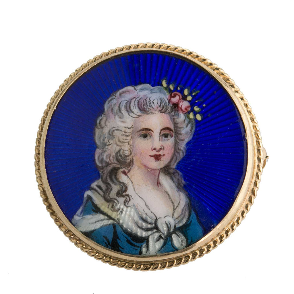 Antique Victorian guilloche enamel on porcelain portrait pin of 18th century lady. 14k gold setting. Pendant attachment. PNFN104