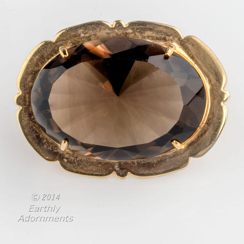 pnfn106(e)-Gold filled over sterling setting with large smoky quartz stone. Omega pin combination. 1.6 x 1.2 inches