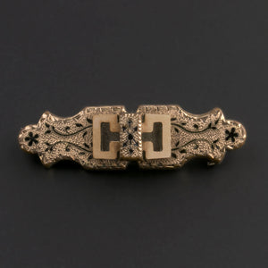 Victorian gold filled taille d'epargne bar pin. pnvn777(e)