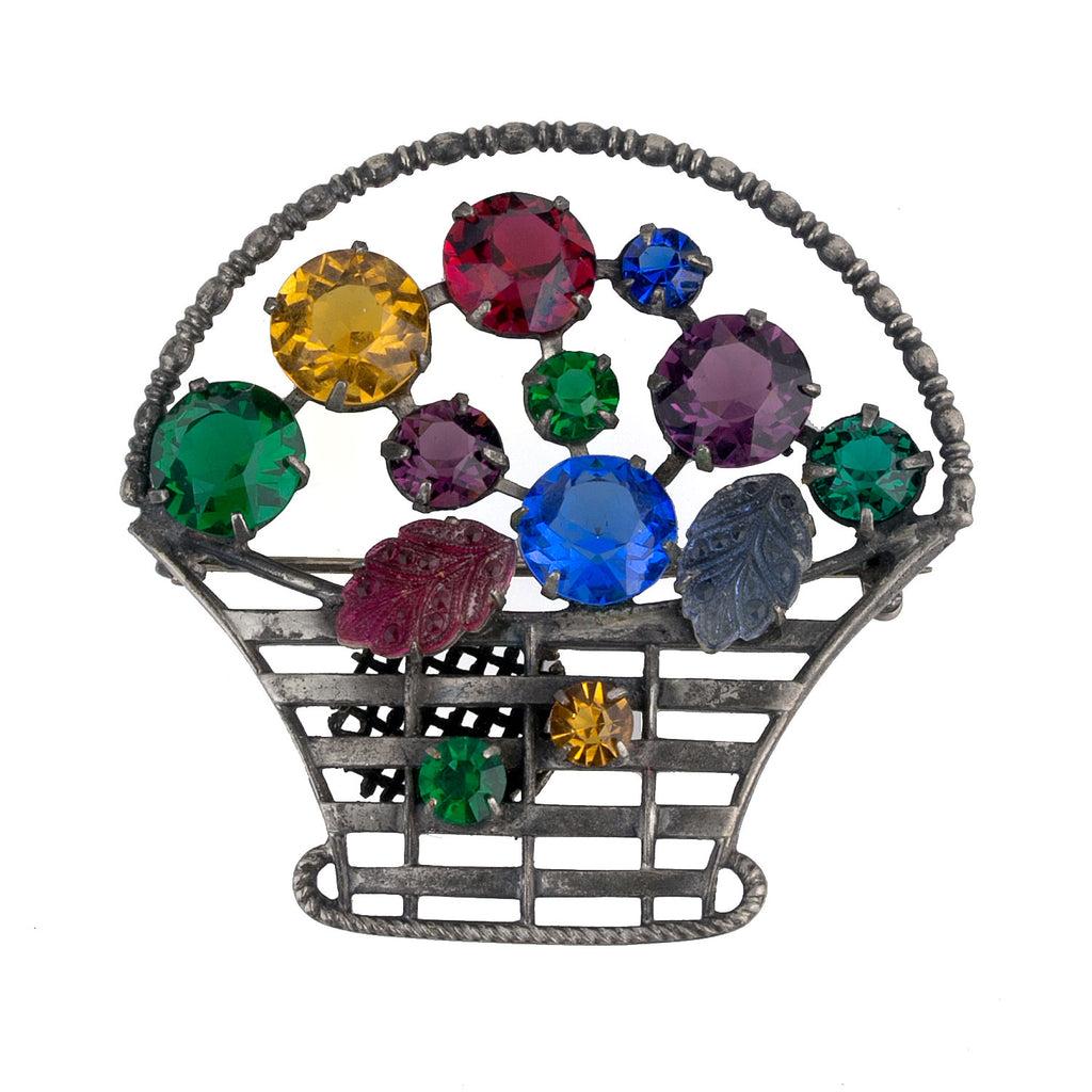 Silver metal and color stone flower basket brooch. pnvn786e