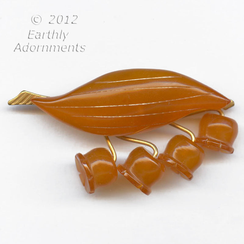 Vintage Baltic Amber Lily of the Valley pin 55x25mm. pnvn807(e)