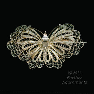 pnvn811(e)- Vintage silver over copper filigree butterfly pin. 1 1/4 x 2 1/4 inches