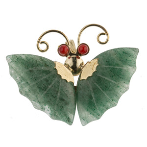 Vintage  green Aventurine and coral butterfly pin or pendant.  pnvn826