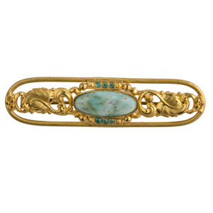 1940s Czech stamped brass and turquoise glass brooch. pnbg1010