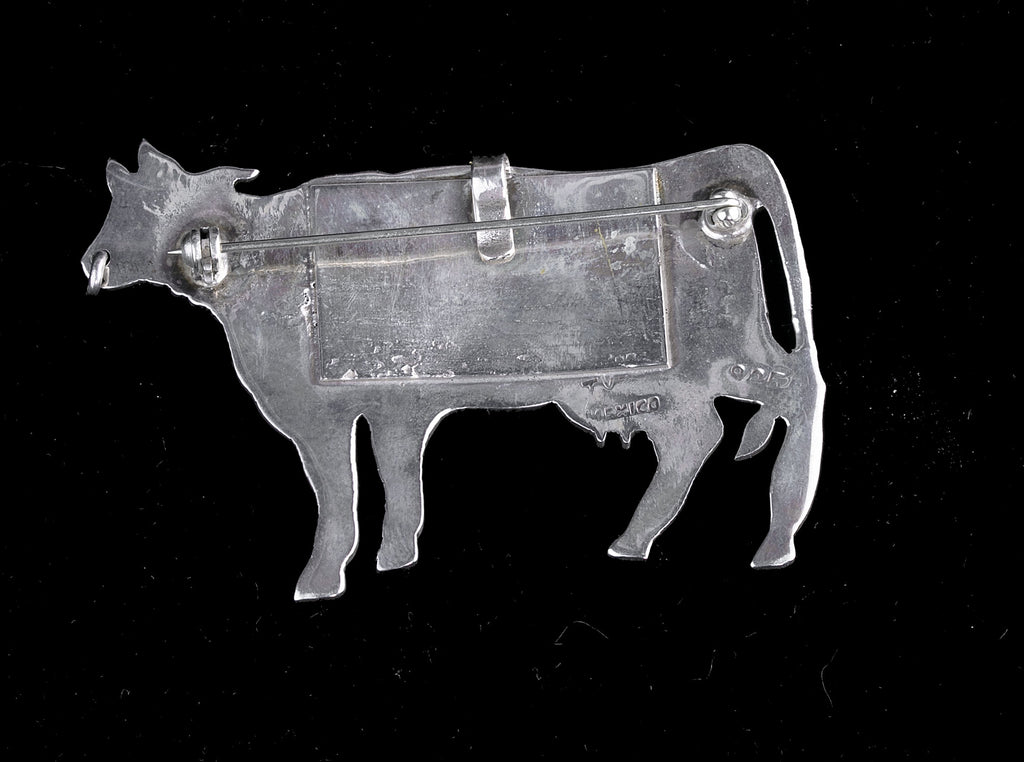 Vintage Taxco Mexico sterling silver figural dairy cow pin or pendant. pnvs904