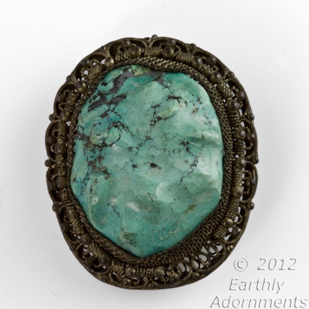 Vintage turquoise and silver filigree fur clip- 1920-30s. Chinese import. pnvs881