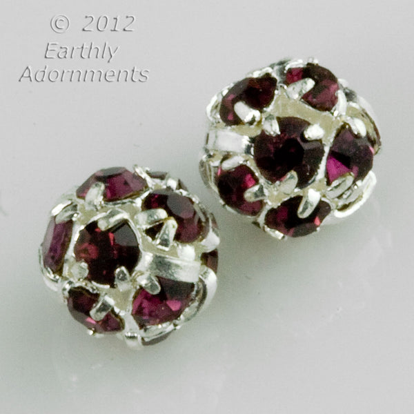 Amethyst rhinestone and silver plated ball bead. Pkg of 2. b11-pp-0891(e)