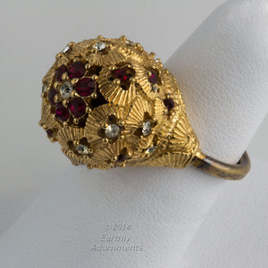Signed CINER costume cocktail ring 1960s size 5. rgcs102(e)