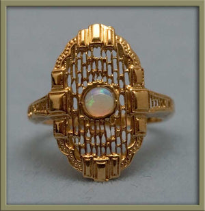 Vintage estate 14k gold filigree and opal ring 1960's Edwardian reproduction. RGFN102