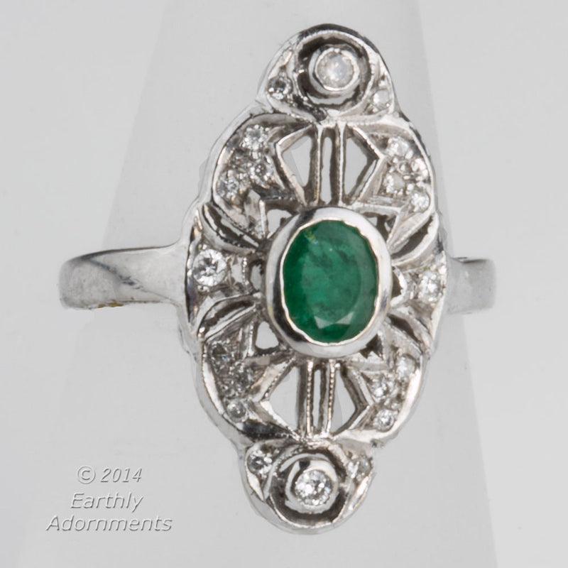 Vintage estate transitional 14k white gold filigree, emerald and diamond ring c. 1920. rgfn122