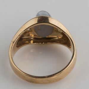 rgfn181(e)-Estate man's natural star sapphire 14k yellow gold ring.size 10.5