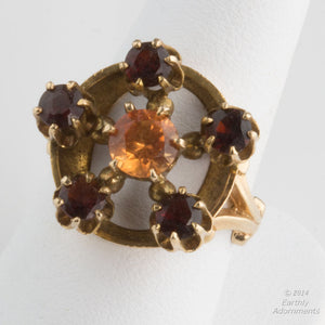 Antique early 20th century two color garnet and 14k gold ring size 6.75. rgfn178